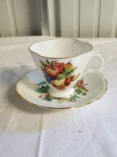 Vintage Clarence Fine Bone China Apples & Pears Cup & Saucer Married Pair