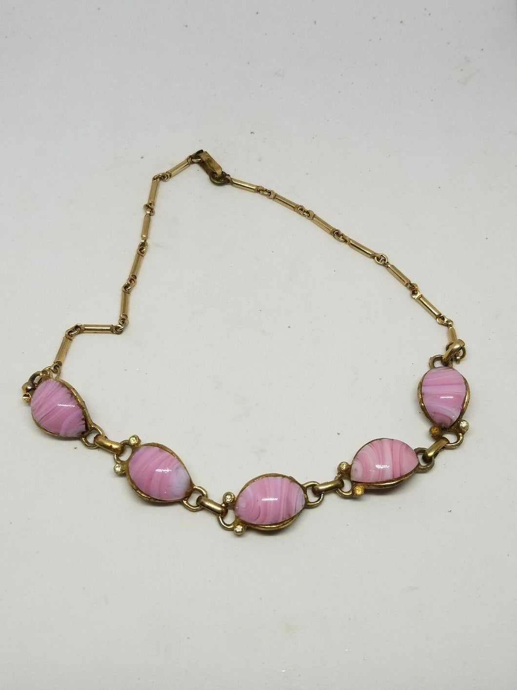 Vintage Goldtone Pink Swirl Lucite Costume Necklace