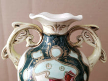Vintage Miyako Japan Moriage Handpainted Footed Flower Vase