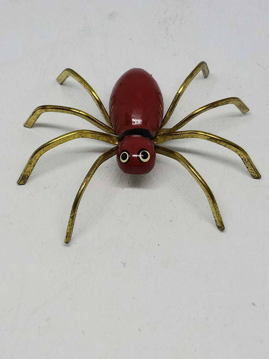 Vintage Red Painted Wooden Spider Brooch C Clasp 2.5