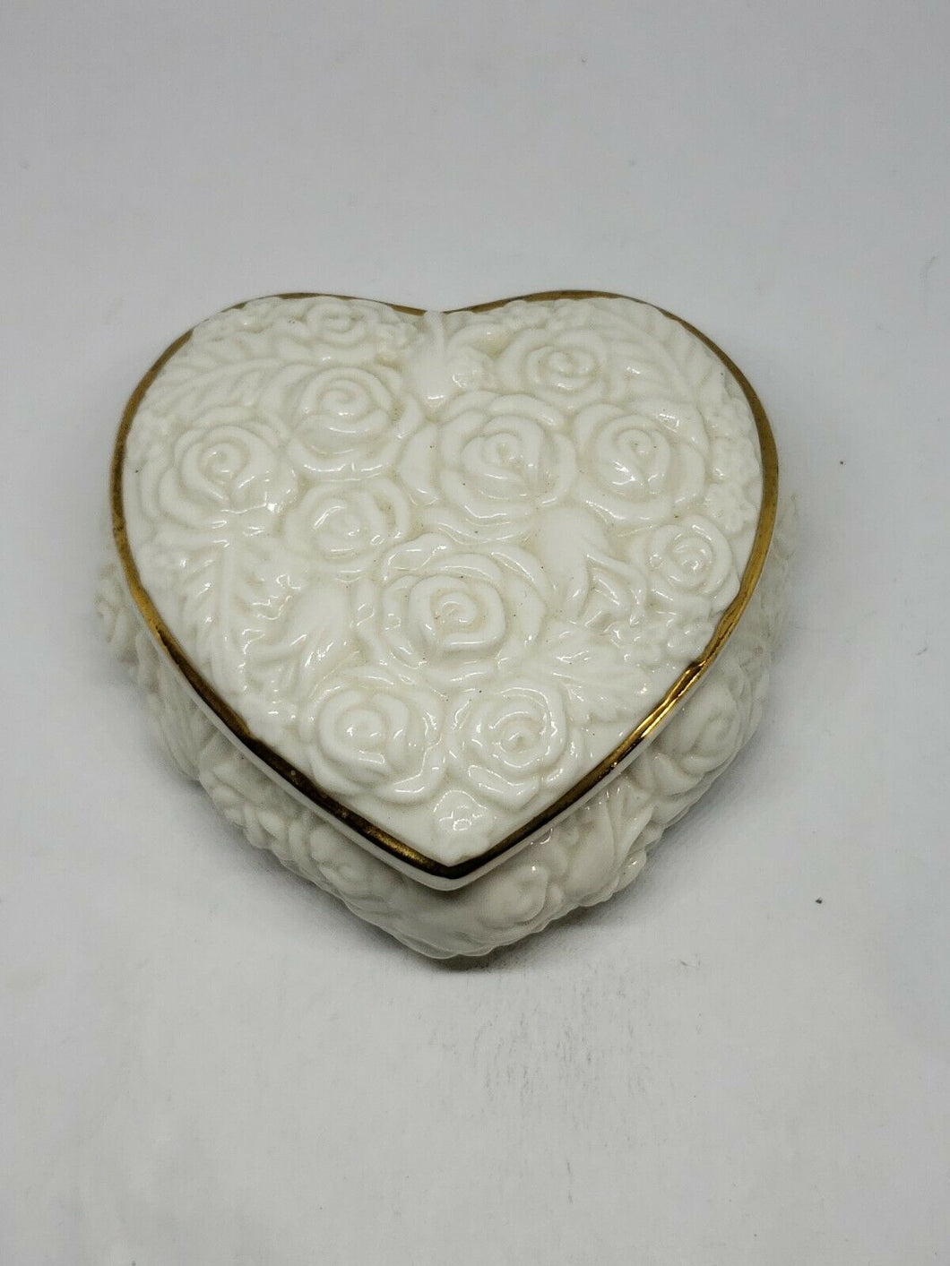 Vintage White Rose Gold Trim Heart Shaped Jewelry Box