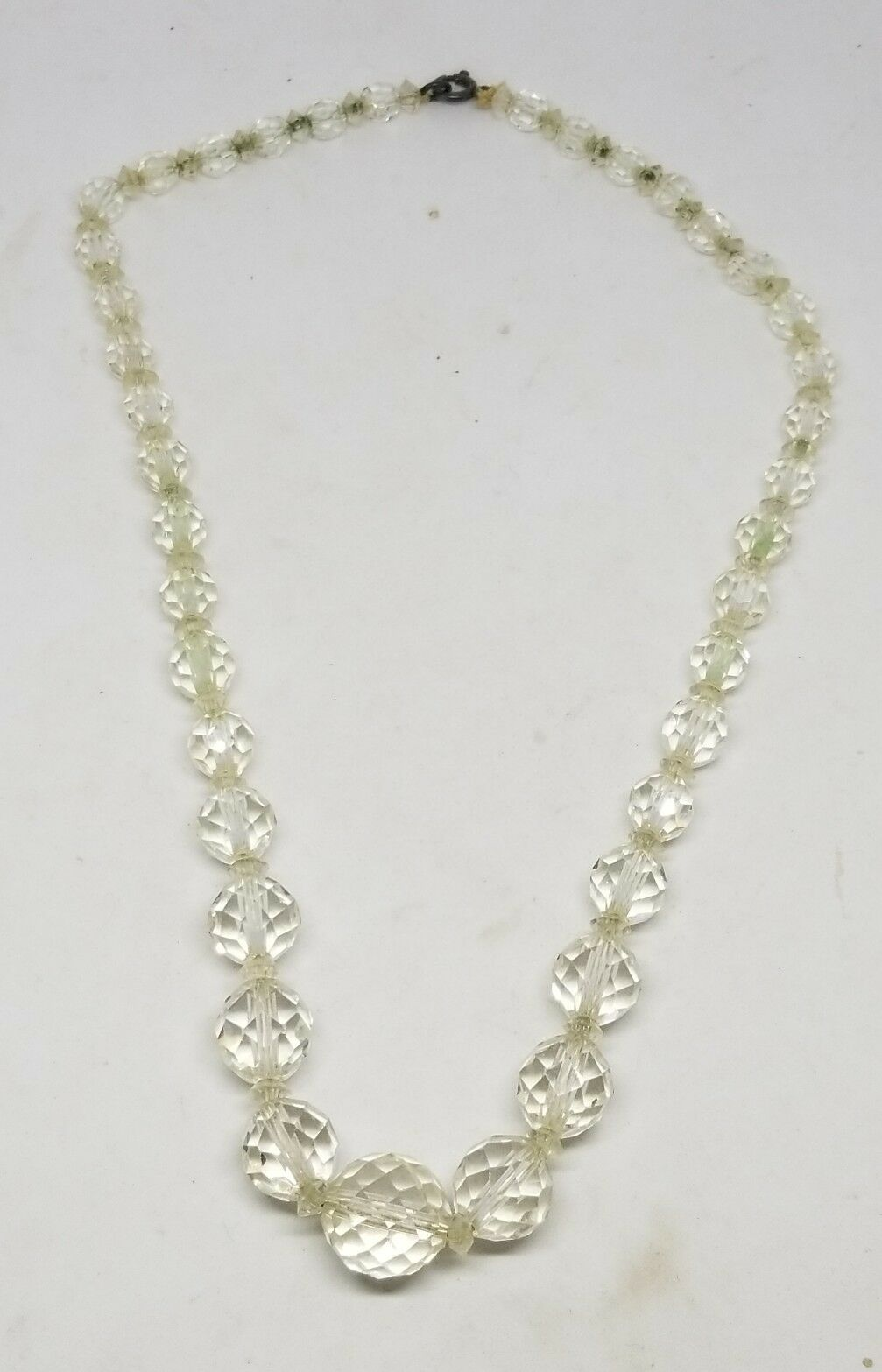 Vintage Sterling Silver Faceted Rock Crystal Graduated Necklace