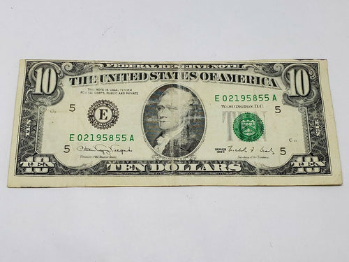 $10 Bill 1990 FRN Off Center/Possible Ink Bleed Circulated