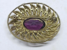Vintage Large Gold Tone Leaf Purple Rhinestone Oval Brooch