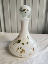 Antique Milk Glass Painted Floral Glass Large Vanity Perfume Bottle