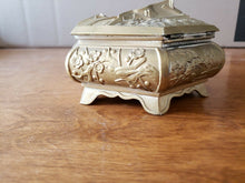 "Vintage Japan Brass Asian Scene Floral 5.5"" Jewelry Casket/ Trinket Box"