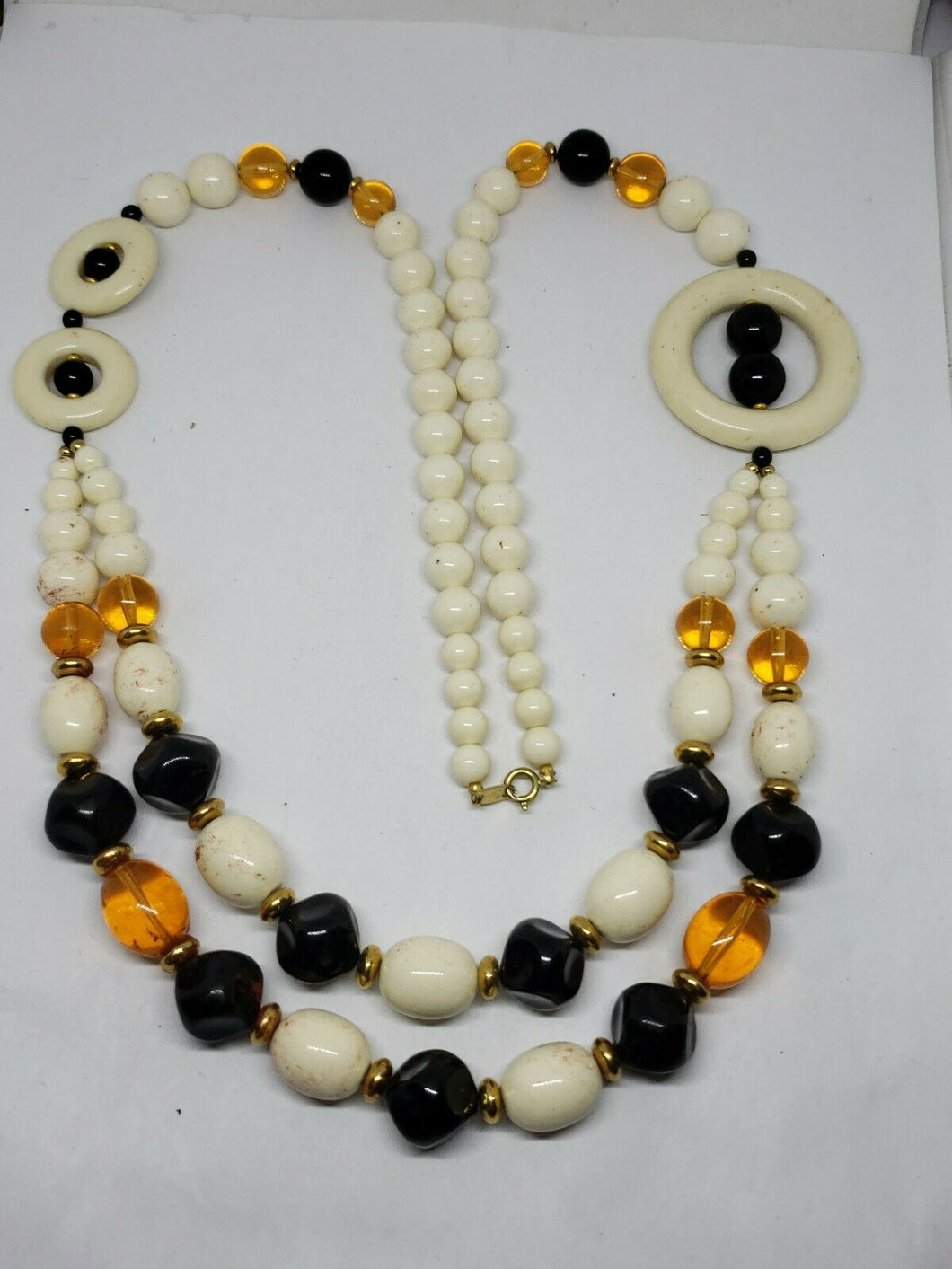Vintage Trifari Lucite Faux Black Onyx Amber Cream Colored Beaded Necklace 28