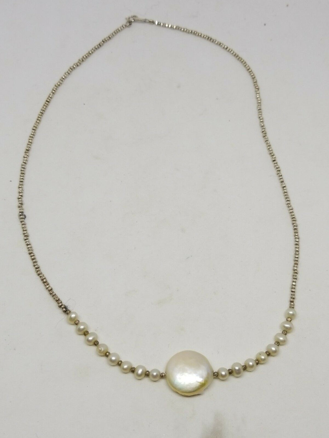 Vintage Retro Mid-century Genuine Pearl Sterling Silver Coin Pearl Necklace