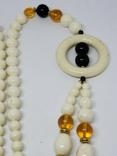 Vintage Trifari Lucite Faux Black Onyx Amber Cream Colored Beaded Necklace 28""