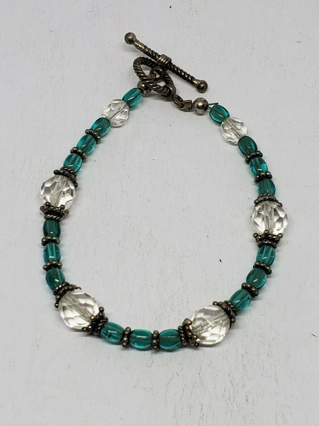 Sterling Silver Blue Bead And Clear Faceted Crystal Bracelet