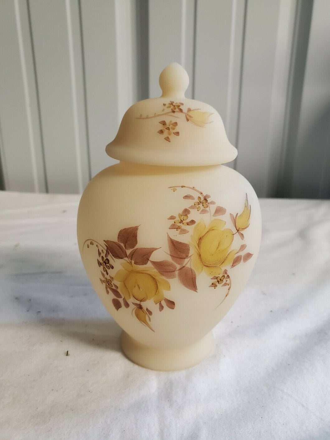 Vintage Fenton Hand Painted K Botey Signed Cream Brown Floral Lidded Ginger Jar