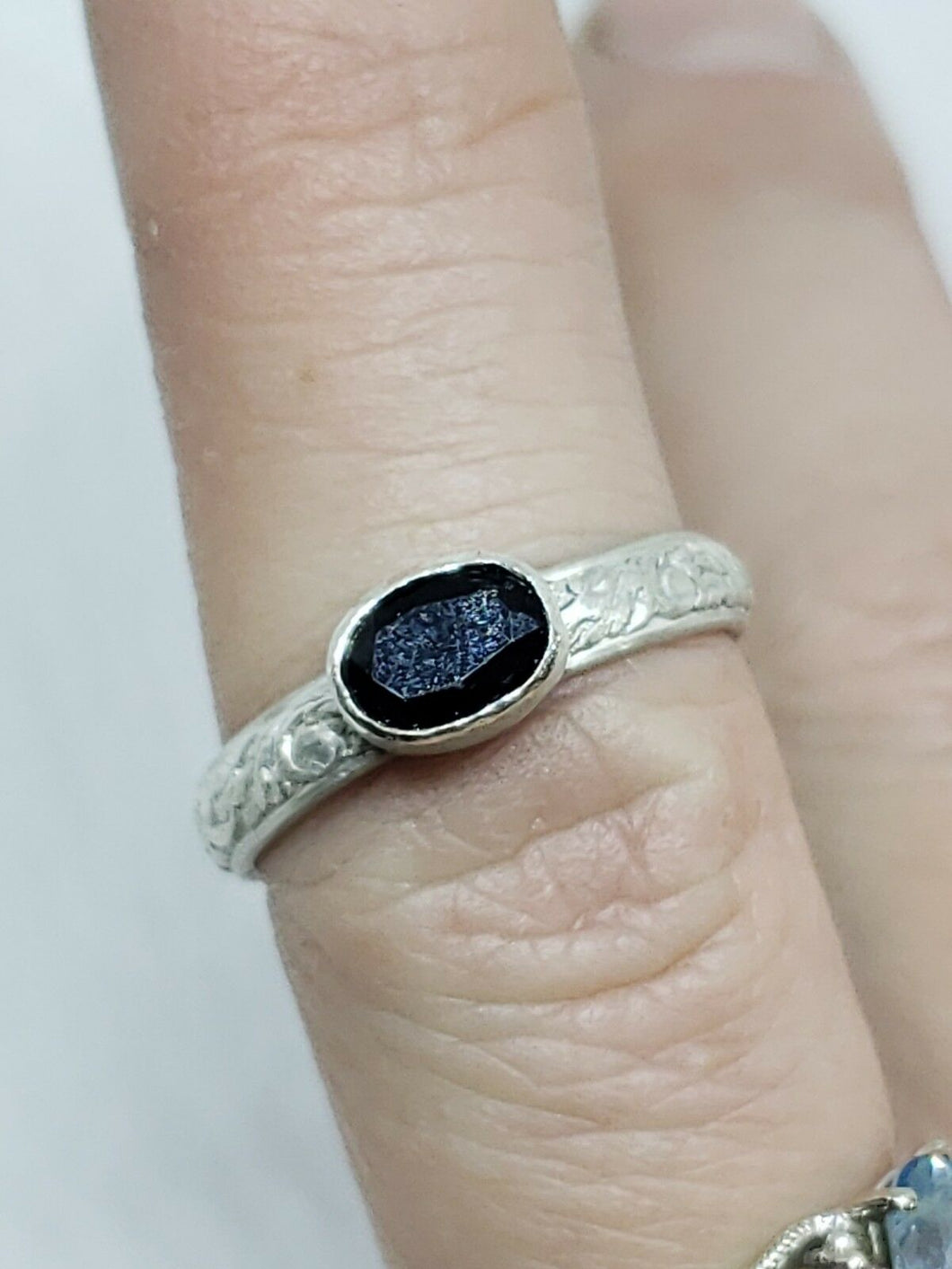 Handmade Sterling Silver Oval Midnight Blue Sapphire Stacker Ring Size 7
