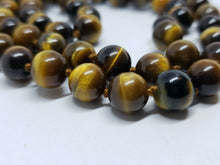 Vintage 14k Yellow Gold Tiger's Eye Handknotted Necklace Filigree Clasp 24""