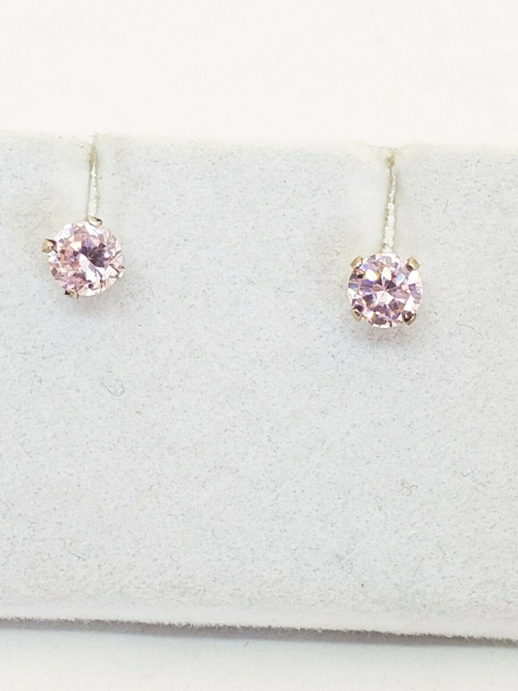 Sterling Silver Simulated Pink Sapphire Round Crystal Stud Earrings