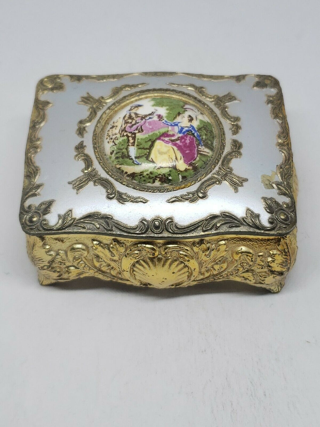Vintage Japan Filigree Painted Figural Jewelry Box