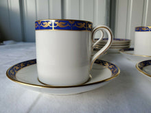 Vintage Wedgewood Blue Marina R4425 Gold Bird Bone China Cups & Saucers Set