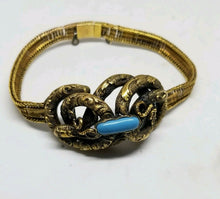 Antique 14k Yellow Gold Victorian Knot Turquoise Filigree Snake Bracelet 7""