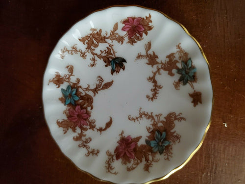 Vintage Minton Ancestral Blue And Pink Flower S-376 Bone China Nut/Candy Dish