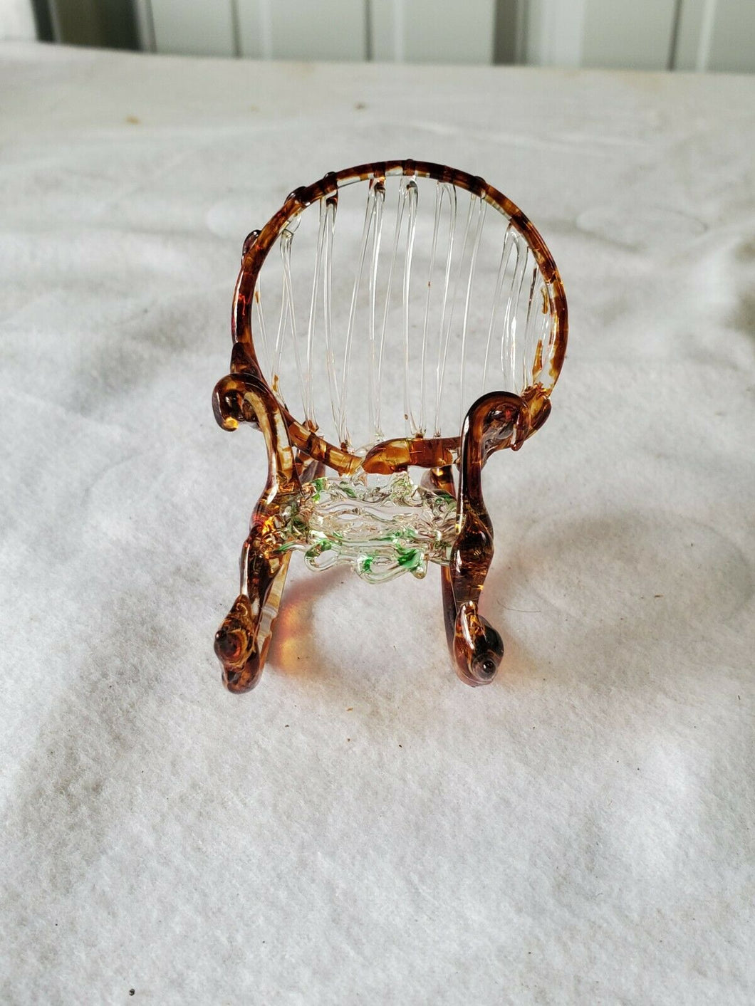 Vintage Hand Blown/Spun Brown Glass Rocking Chair Figurine Real Rocking Movement
