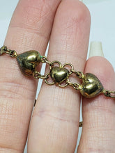 Unique Vintage Sterling Silver 3 Puffy Hearts Chain Link Herringbone Bracelet 7""