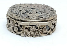 Antique Art Nouveau 835 Silver Filigree Floral Snuff Trinket Pill Box