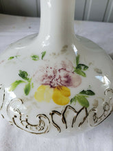 Antique Victorian White Milk Glass Vanity Perfume Bottle Hand Painted Flowers #2