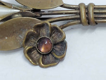 Antique Brass Pointed Pearl And Pink Cabochon Wire Flower Bouquet Brooch