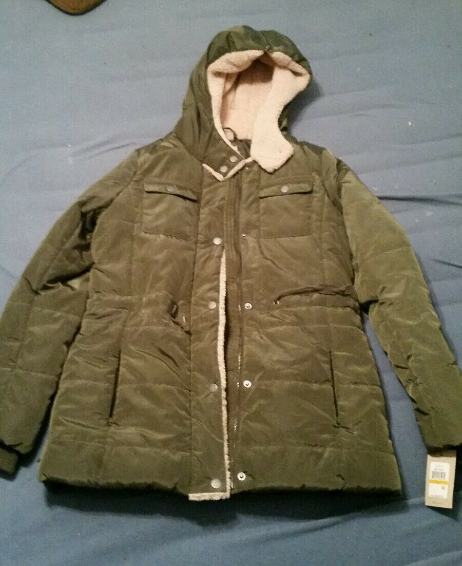 Levi's Women's Small Quilted Puffer Jacket Agn Army MSRP $200 Coat Parka