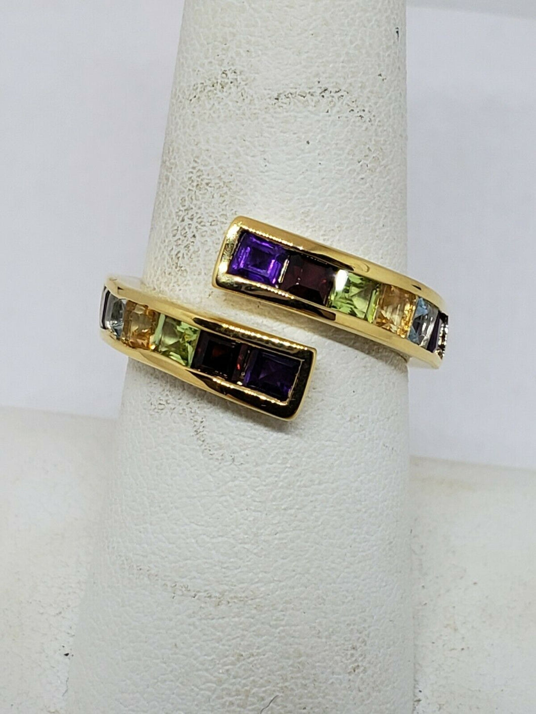 Zales 18k Gold Plated Sterling Silver Multistone Bypass Ring