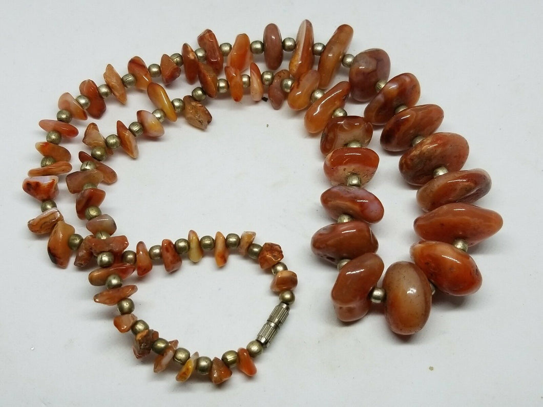 Vintage Retro Chunky Carnelian Beaded Strand Necklace 21.5
