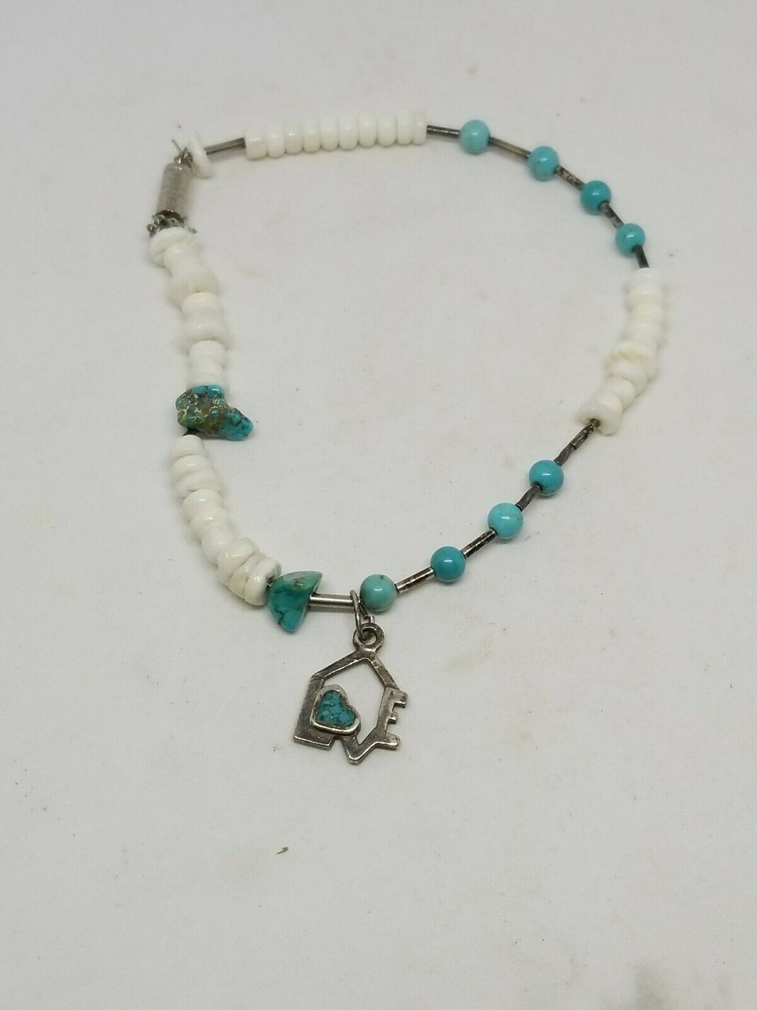 Sterling Silver Genuine Turquoise and Heshi Shell Inlay Heart Love Bracelet