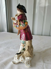 Antique Dresden Sitzendorf Man With Flowers Basket Bisque Hand Painted Figure