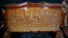 "SIGNED Vintage Wood Carved ""The Last Supper"" Plaque Wall Hanging"