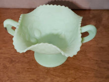Vintage Fenton Lime Green Satin Footed Candy Dish With Handles