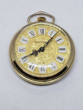 Vintage Arntime Gold Tone Roman Numeral Floral Pocket Watch *WORKING*