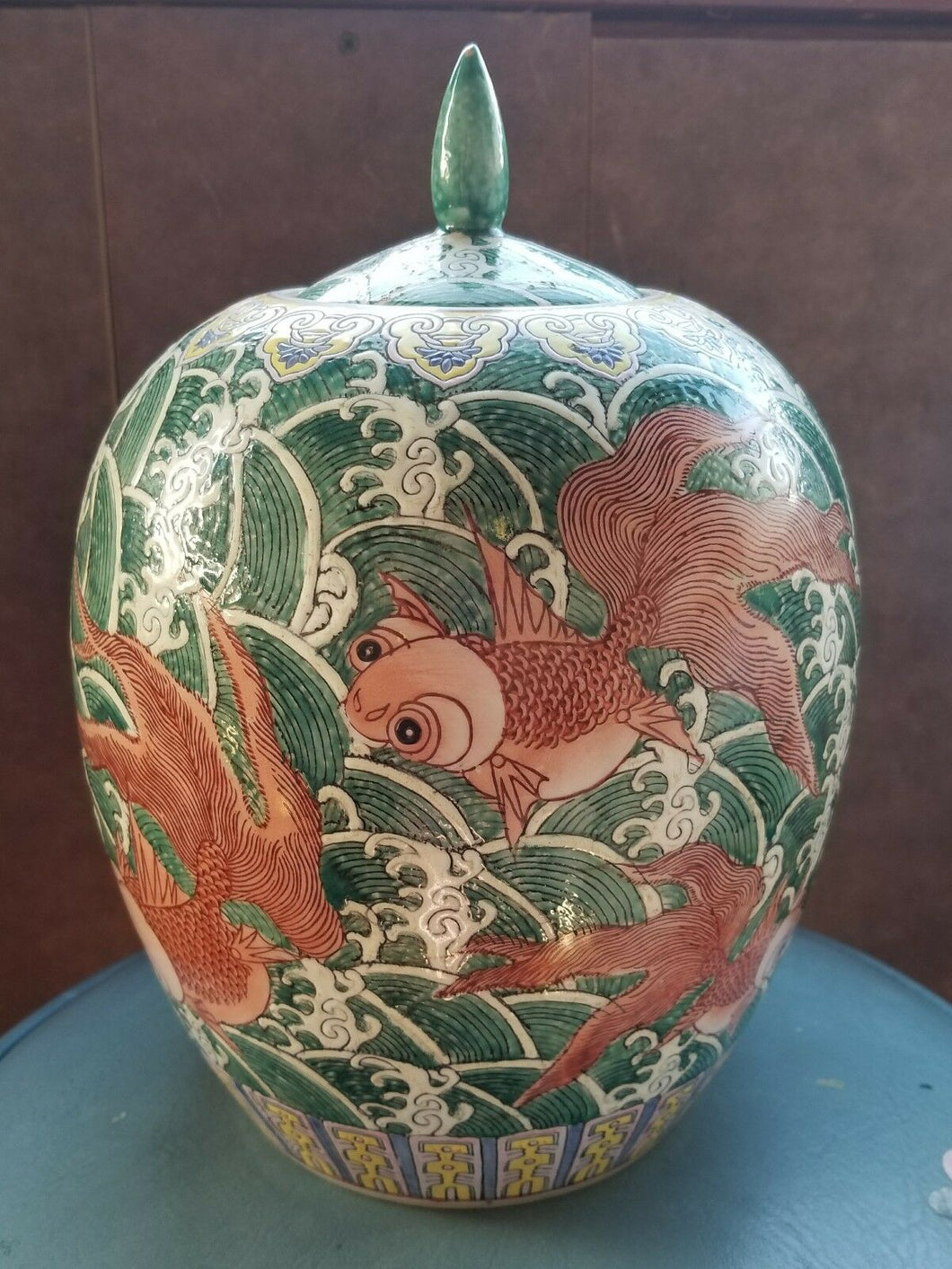Antique Qianlong 18th Century Chinese Goldfish Waves Cookie Jar 11