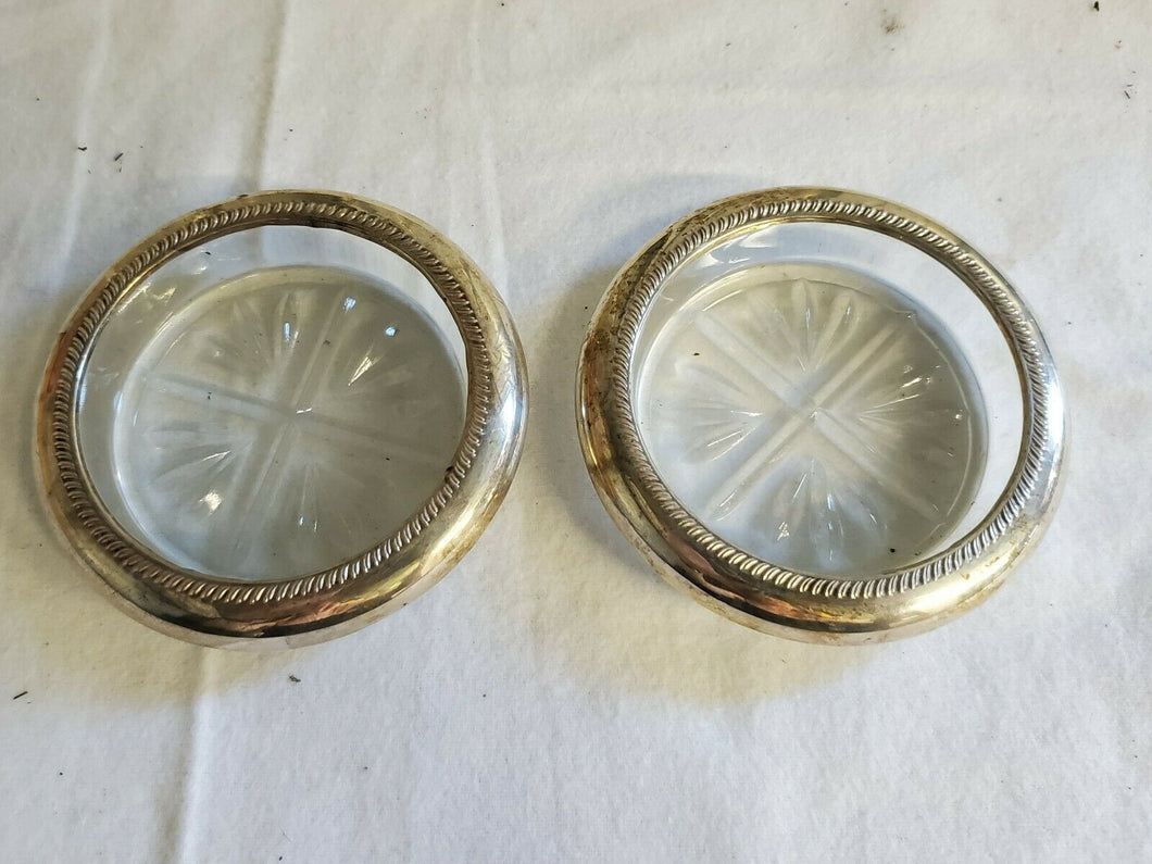 Antique 1883 Sterling Silver FB Rogers Silver Co Crystal/Glass Coasters Set Of 2