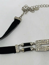 Monet Rectangle Rhinestone Studded Black Velvet Choker