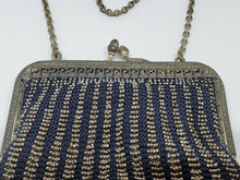 Antique Silver Blue And Silver Beaded Chainmaille Satin Lined Ladies Purse