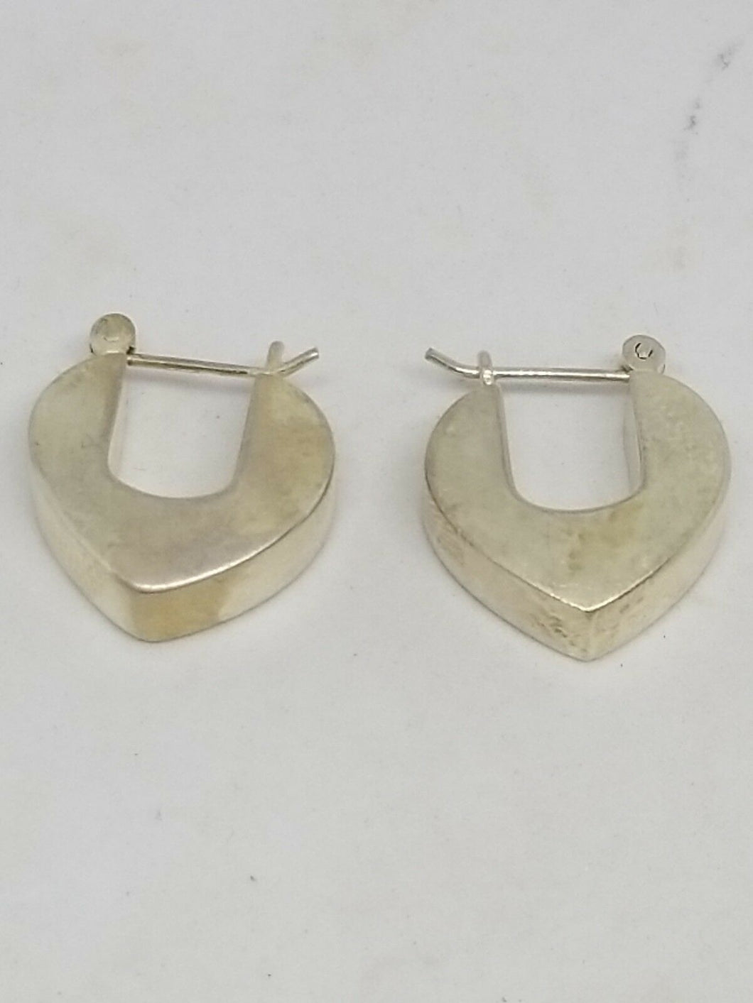 Sterling Silver Thick Trangular Pierced Earrings