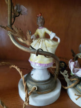 Antique French Porcelain Figural Man and Woman Brass Candle Votive Boudoir Lamps