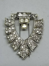 "Vintage KJL Kenneth Jay Lane Signed Art Deco Crystal ""Shield"" Fur Clip Brooch"