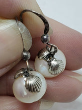 Sterling Silver Off Round Freshwater Pearl Seashell Accent Drop Earrings