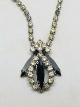 Vintage Silver Tone Clear And Black Rhinestone Navette Necklace