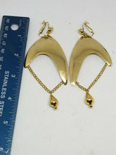 Vintage Signed Vendome Gold Tone Triangle Chain Clip On Earrings