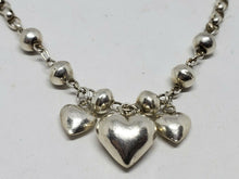 Vintage Sterling Silver Puffy Heart Ball Bead Chain Charm Bracelet 6 3/4""