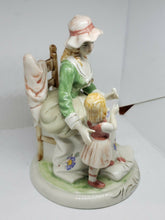 Vintage Handpainted Figurine Woman Sitting With Child Made In Taiwan