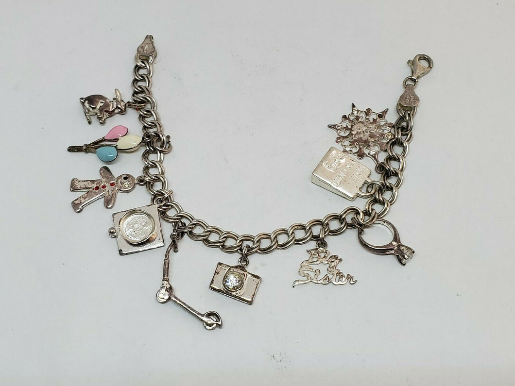 Vintage Sterling Silver Mother's Charm Bracelet 10 Charms Children Theme 7.25