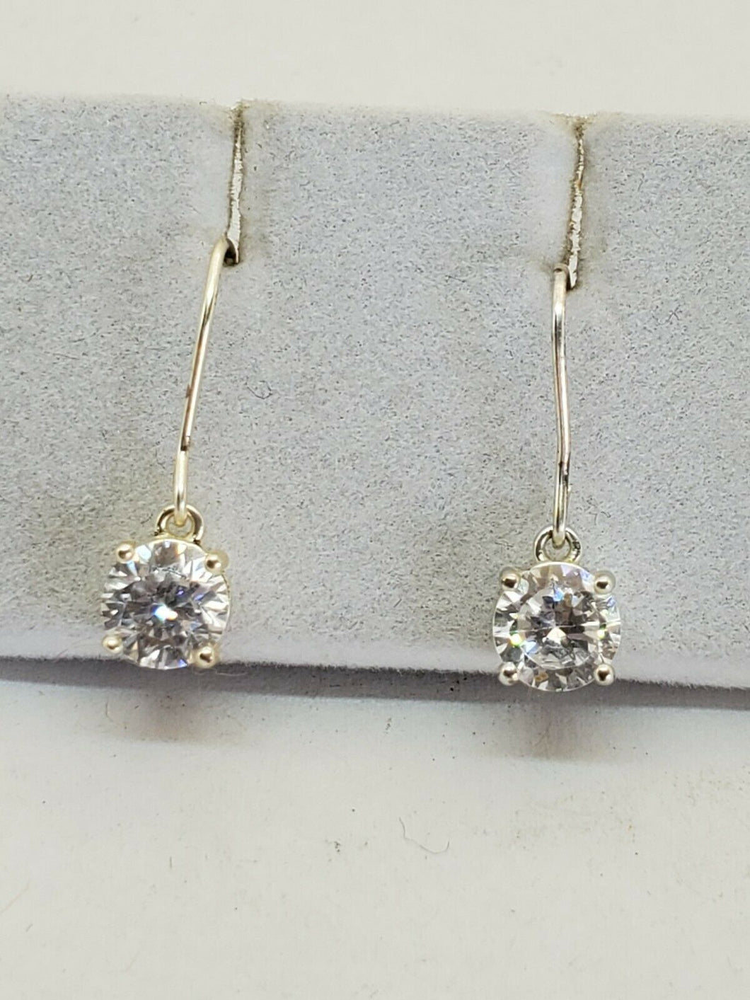 Sterling Silver Round Clear Cubic Zirconia Drop Earrings