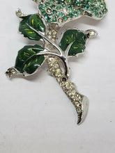 Vintage Silver Tone Rhodium Plated Green and Clear Rhinestone Rose Enamel Brooch